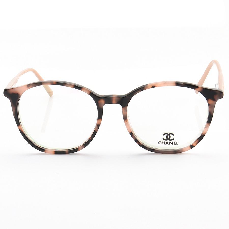 Armação de Óculos Redonda Chanel CH58663 Tartaruga Rosa