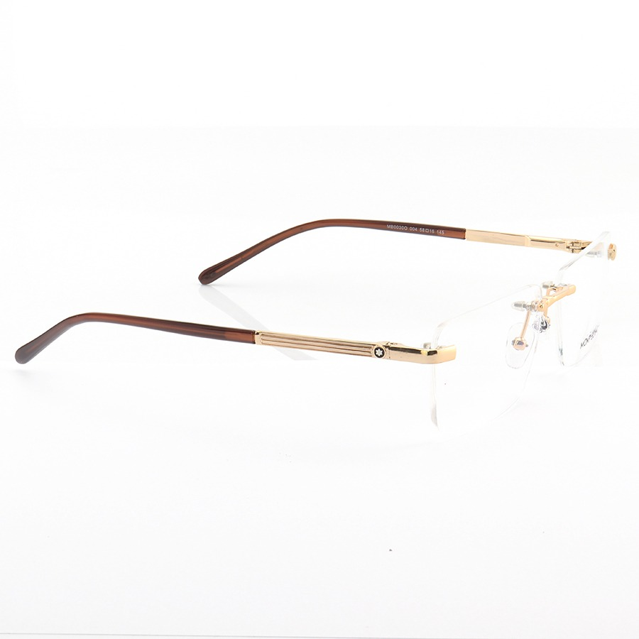 Armação de Óculos Retangular Flutuante Mont Blanc MB0030O Dourada