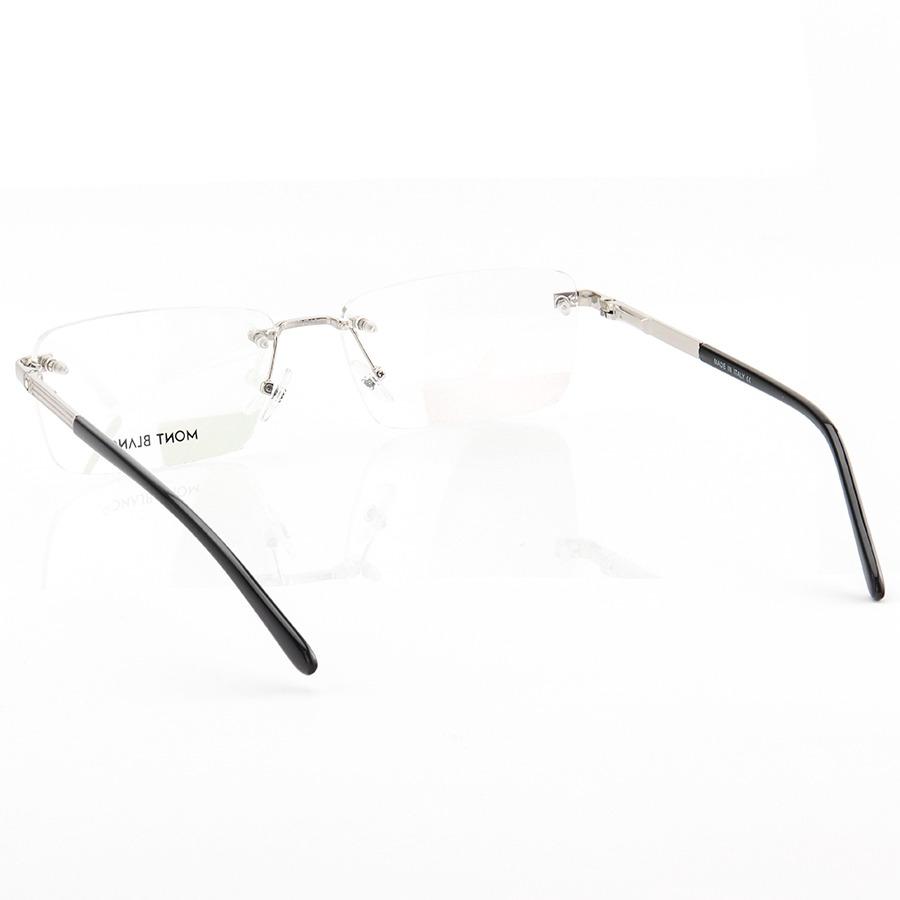 Armação de Óculos Retangular Flutuante Mont Blanc MB0030O Prata