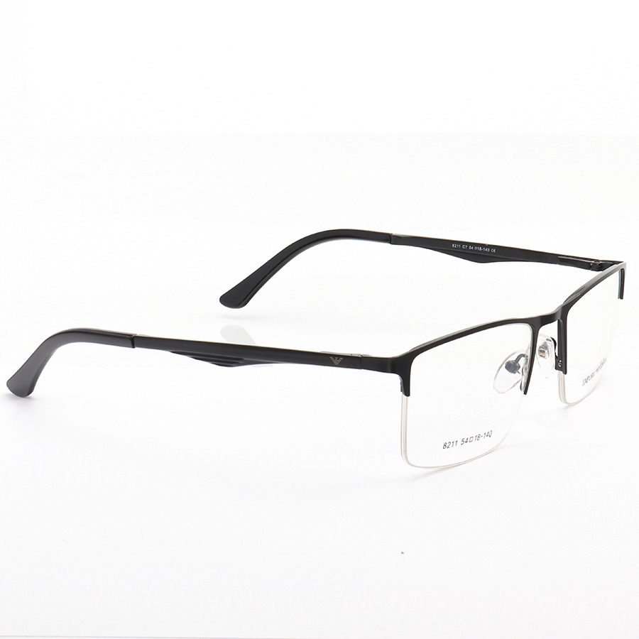 Armação de Óculos Retangular Meio Aro Empório Armani EA8211 Preta