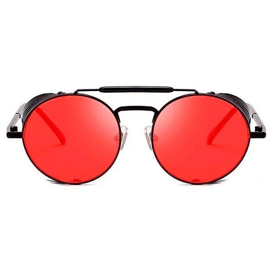 Óculos de Sol Redondo Retrô Vintage 66247 Steampunk Preto e Vermelho