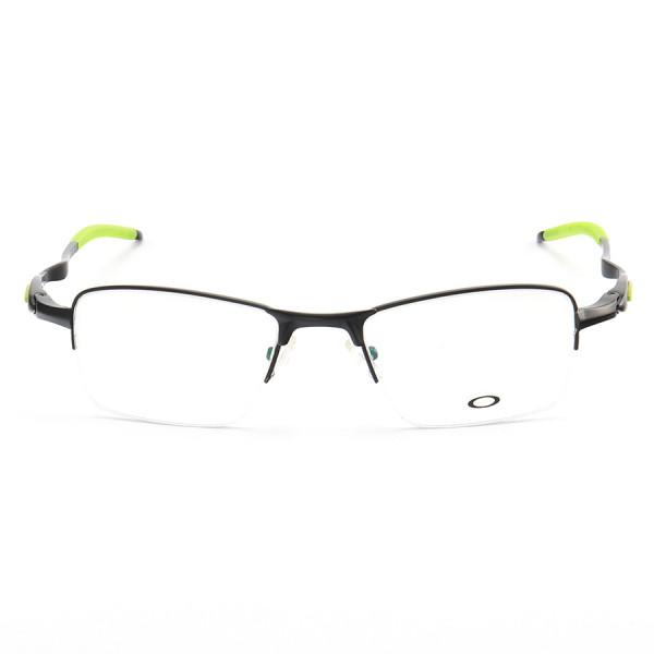 Armação de Óculos Retangular Oakley Meio Aro Evade OX3208 Preto Verde