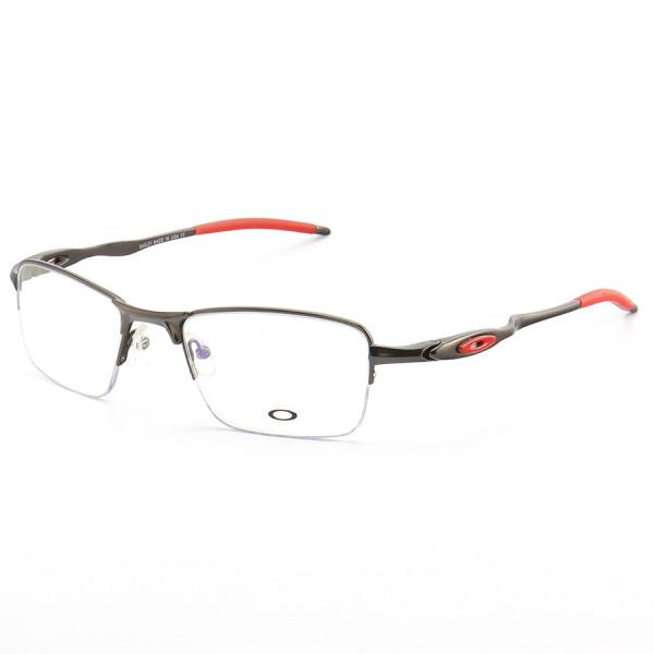 Armação de Óculos Oakley Meio Aro Evade OX3208 Chumbo e Vermelho