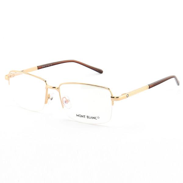 Armação de Óculos Retangular Meio Aro Mont Blanc MB0031O Dourado