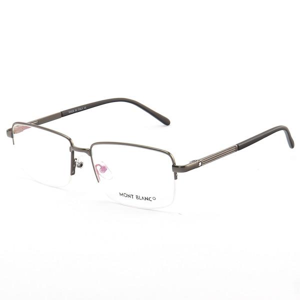 Armação de Óculos Retangular Meio Aro Mont Blanc MB0031O Grafite