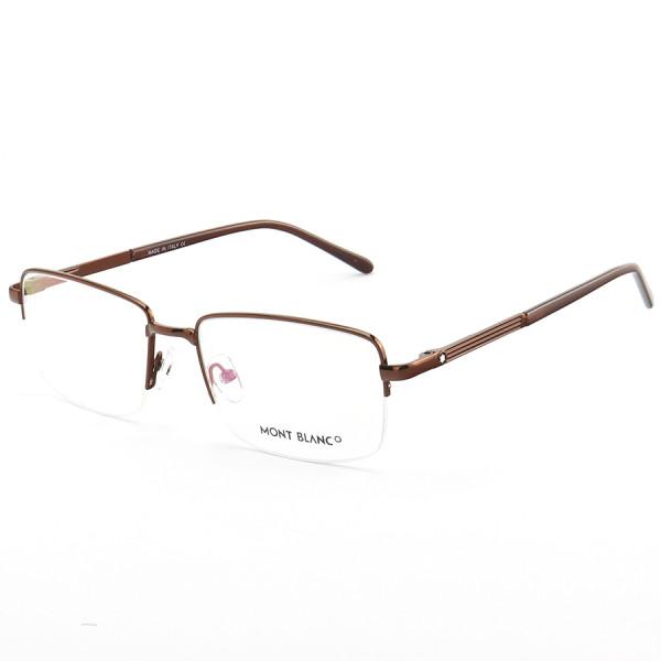 Armação de Óculos Retangular Meio Aro Mont Blanc MB0031O Marrom