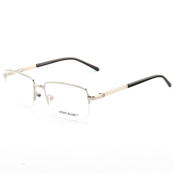 Armação de Óculos Retangular Meio Aro Mont Blanc MB0031O Prata