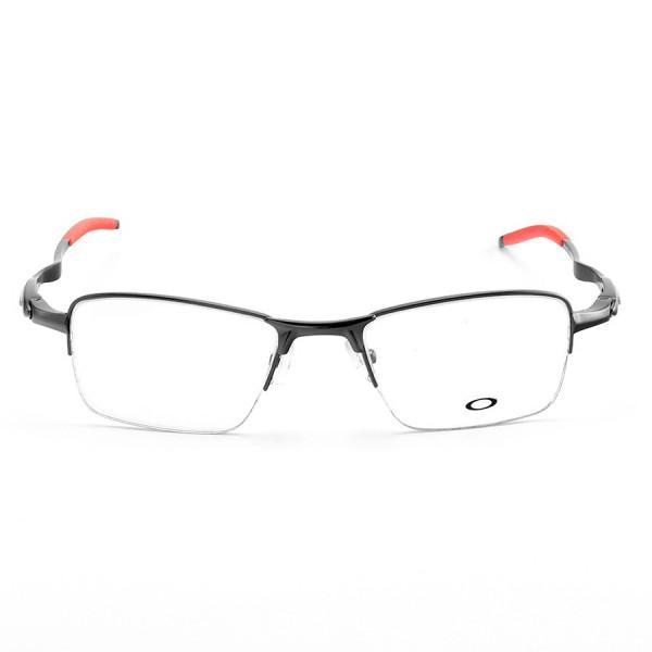 Armação de Óculos Oakley Meio Aro Evade OX3208 Preto e Vermelho