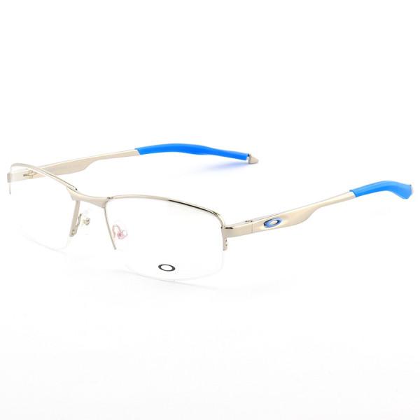 Armação de Óculos Meio Aro Oakley Evade-B OX138 Prata e Azul
