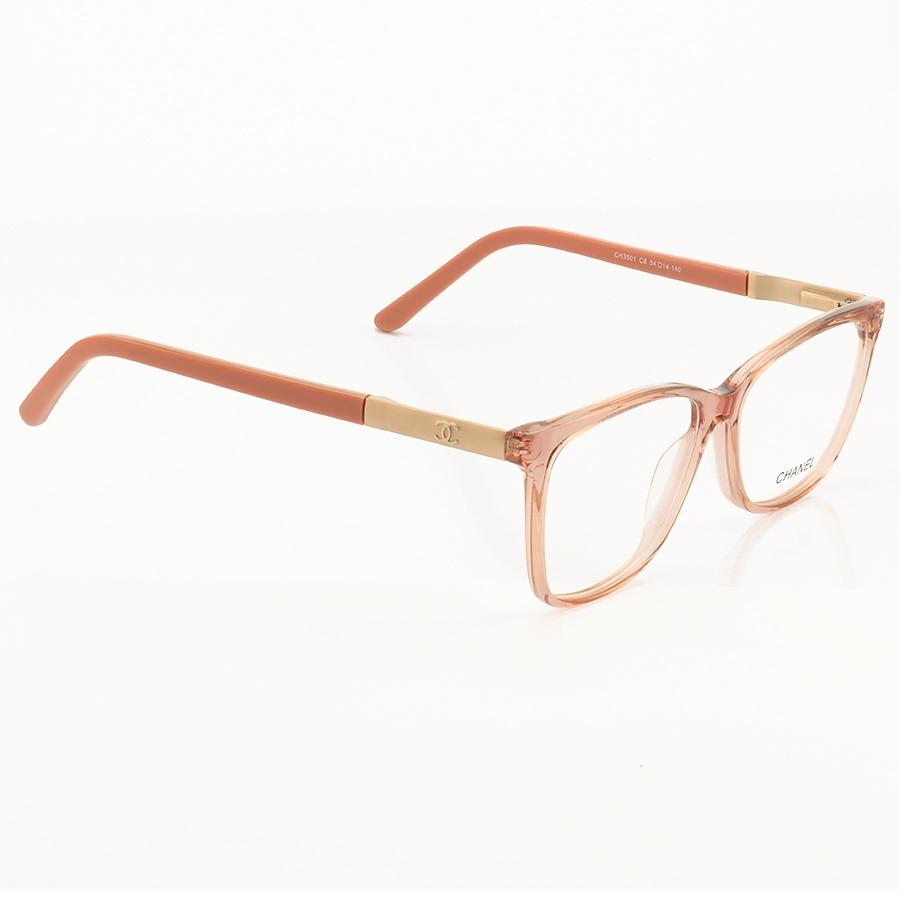 Armação de Óculos Quadrada Chanel CH3501 Rosa Translúcido