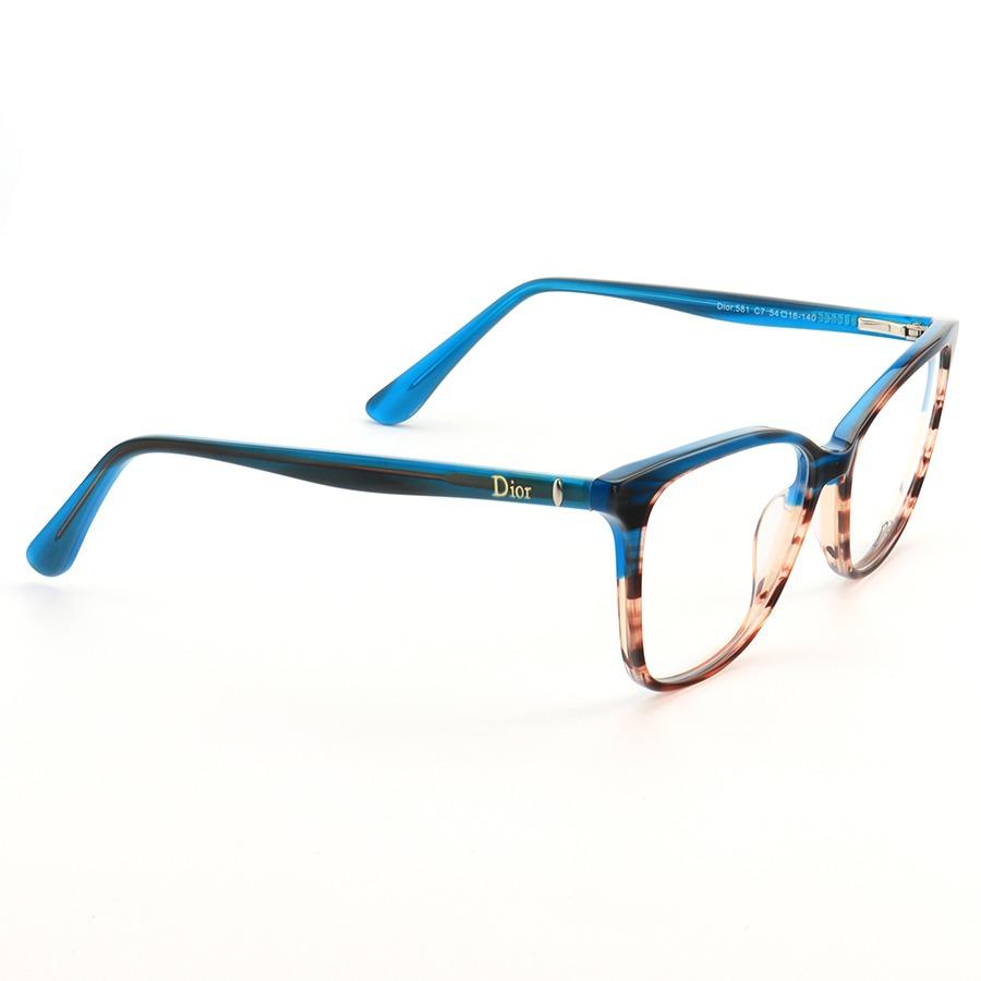 Armação de Óculos Quadrado Dior CD581 Azul Degrade