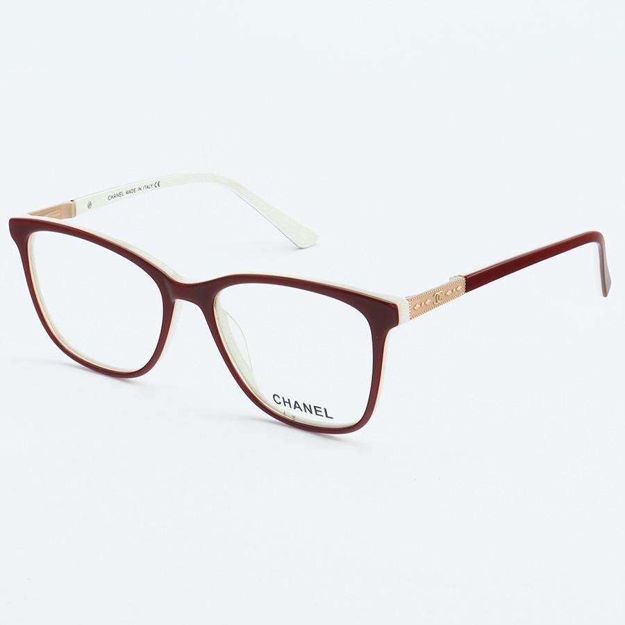 Armacao de Óculos Quadrada Feminina Chanel CH3503 Vermelho e Branco