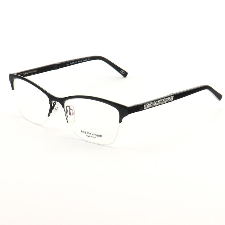 Armação de Óculos Retangular Meio Aro Ana Hickmann AH1282 Preto