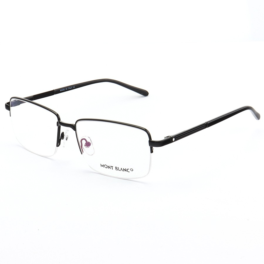 Armação de Óculos Retangular Meio Aro Mont Blanc MB0031O Preto