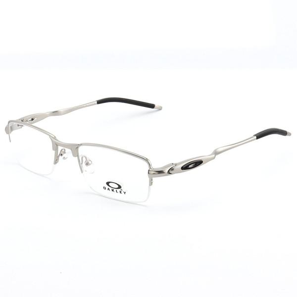 Armação de Óculos Oakley Meio Aro Evade OX3208 Prata e Preto