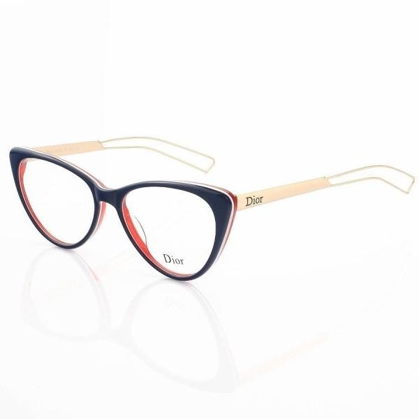 Armacao de Óculos Gatinho Dior CD 80633 Azul e Vermelha