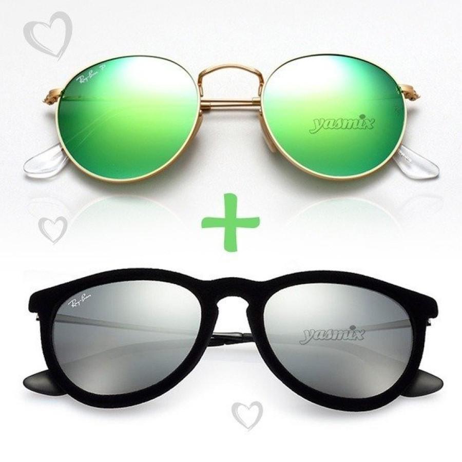 Promoção: Óculos Erika Veludo + Óculos Round Verde Espelhado