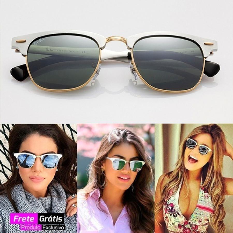 Óculos Erika Veludo Preto Espelhado + Óculos Clubmaster Alumínio Espelhado