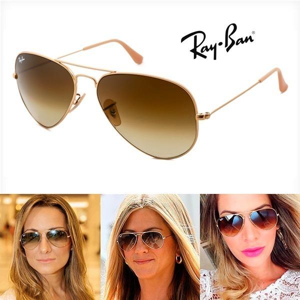 Óculos de Sol Ray Ban Aviador Azul Degrade + Aviador Marrom Degrade