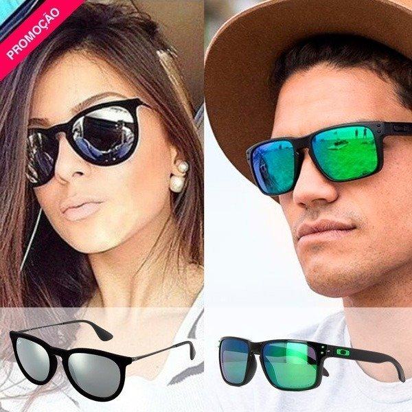 Óculos Erika Veludo Preto Espelhado + Óculos Holbrook Preto e Verde