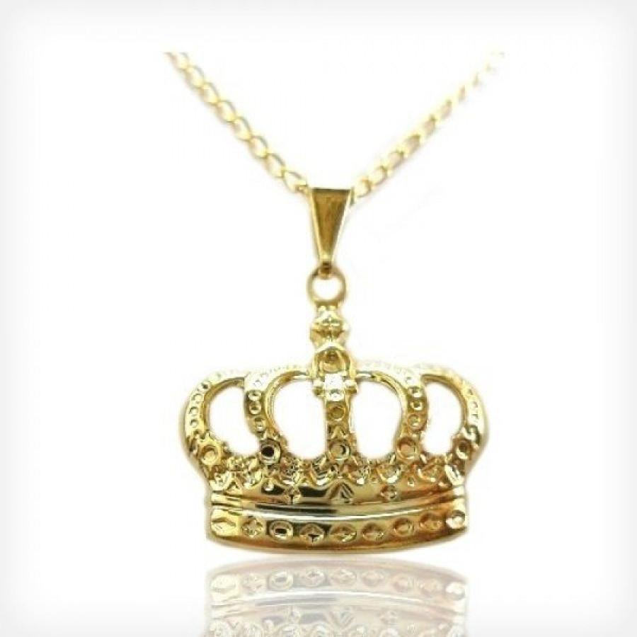 Colar Com Pingente De Coroa Folheada A Ouro 18k