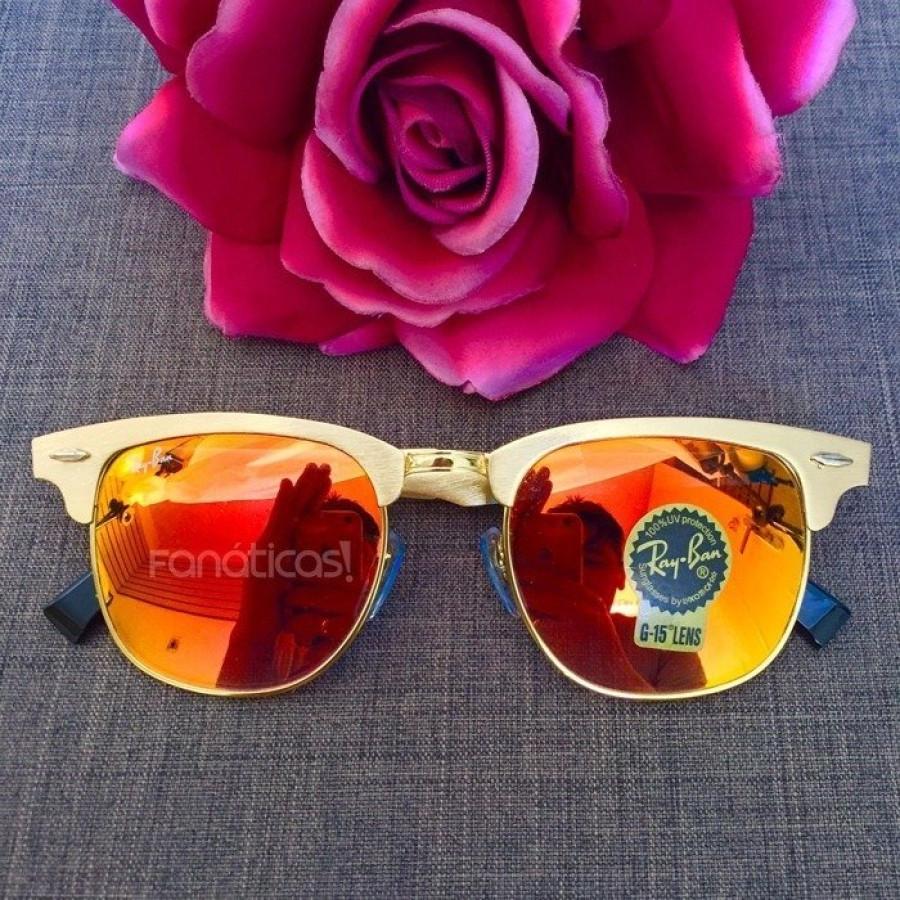 Óculos Ray-Ban Clubmaster RB3507 Espelhado - Dourado e Laranja Avermelhado